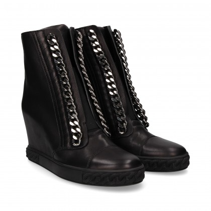 INNER WEDGE BOOT BLACK LEATHER CHAIN EMP CHAIN