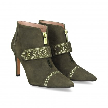 ZIPPER BOOTS WITH STUDS SUEDE SUEDE KHAKI