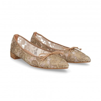 BROCADE POINT DANCER BOW BEIGE