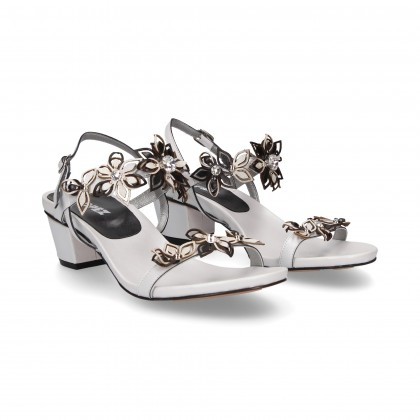 CARMELITE SANDAL FLOWERS WHITE/BLACK