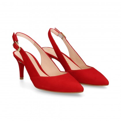 OPEN HEEL LOUNGE SUÈDE VELOURS ROUGE