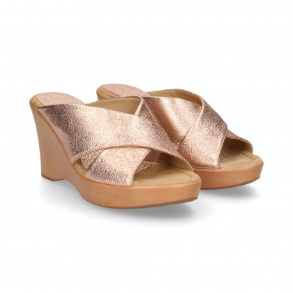 CRACKLED PINK GOLD CROSS PADDLE WEDGE