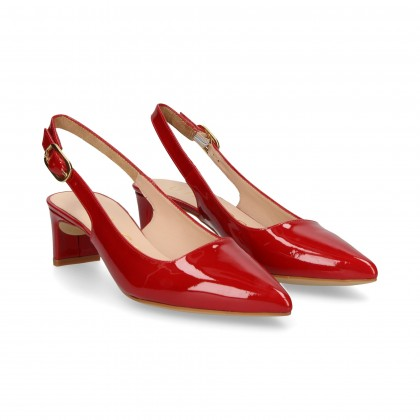 OPEN HEEL LOUNGE RED PATENT LEATHER
