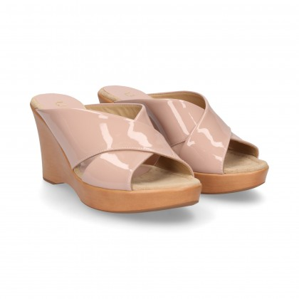 CROSS PADDLE WEDGE PATENT LEATHER PINK