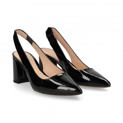 OPEN HEEL LOUNGE BLACK PATENT LEATHER