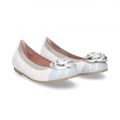 DANCER ELASTIC FLOWER TOECAP PLATED LEATHER