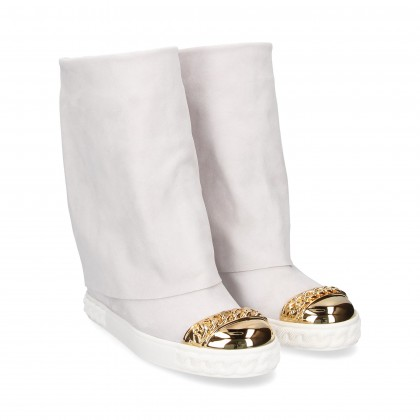 WHITE SUEDE TOE WEDGE INNER BOOT