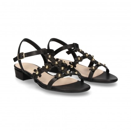 CARMELITE SANDAL BLACK LEATHER FLOWERS