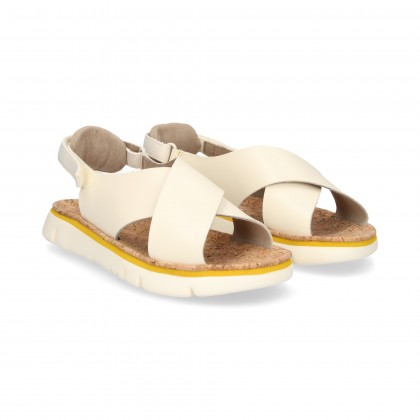CROSS SANDAL BEIGE LEATHER