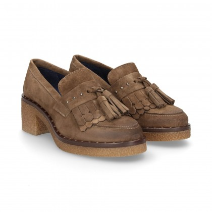MOC.FRINGES POOP SUEDE BROWN
