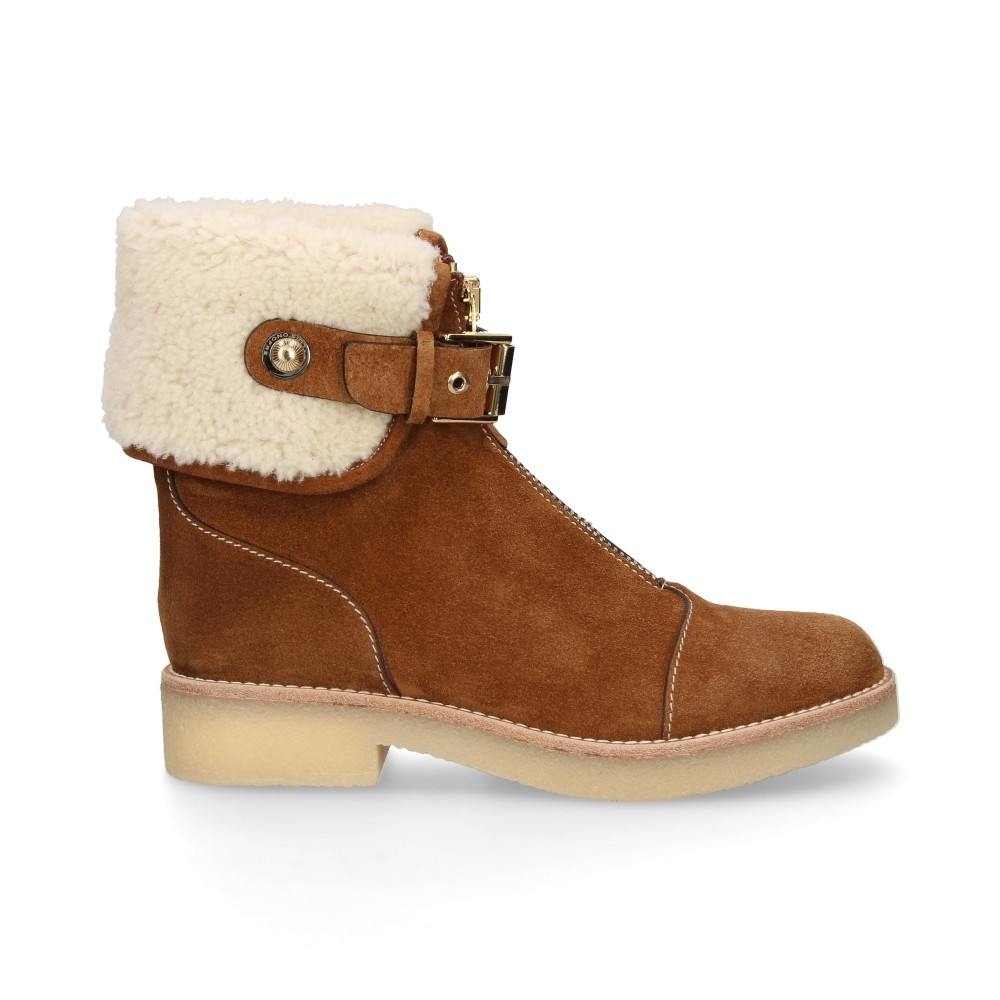 ZIPPERED BOOT FOREFOOT SUEDE HAIR CAMEL