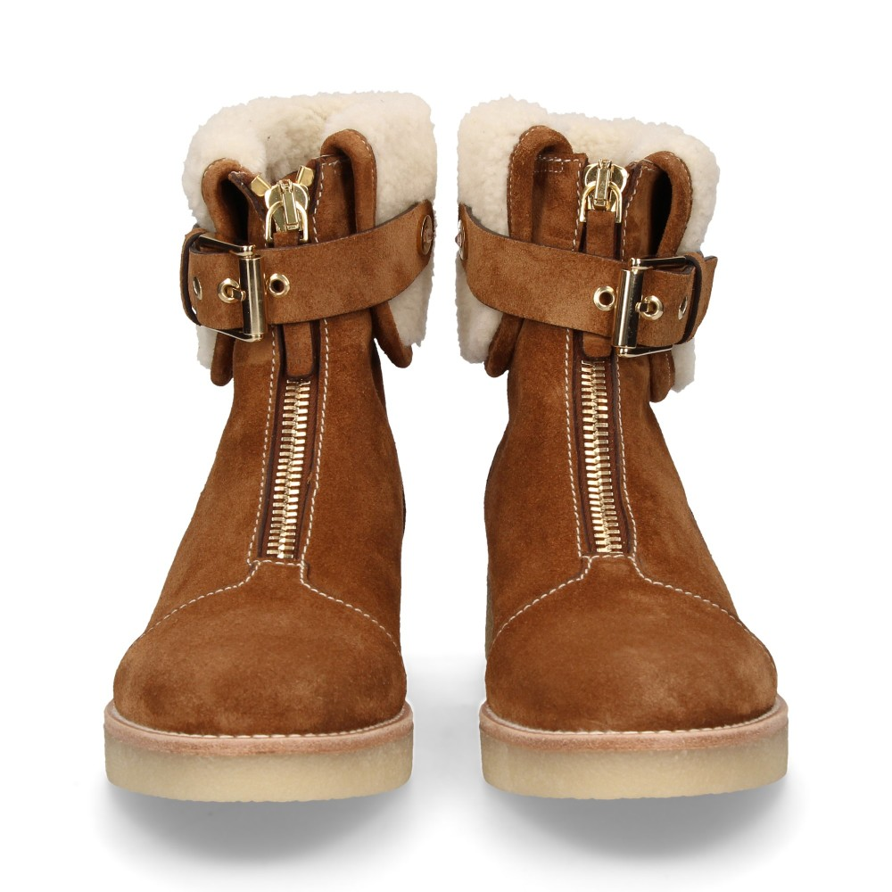 ZIPPERED BOOT FOREFOOT SUEDE SUEDE HAIR CAMEL