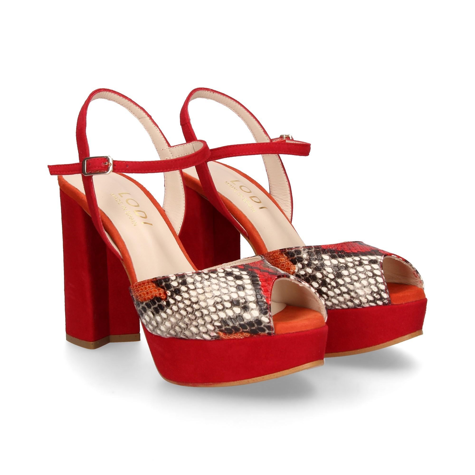 Tica Rojo Sandalias Xsr De Lodi Con Mujer Plataforma ybf76vYg