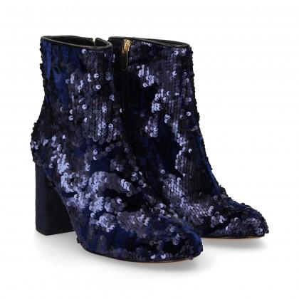 BLUE VELVET PALLET ZIPPER BOOTS