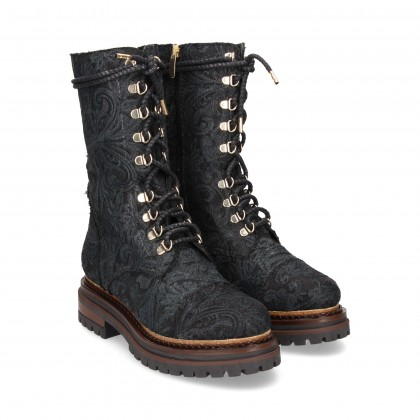1/2 BOOT KNOTTED TEXTILE BLACK EMBROIDERY