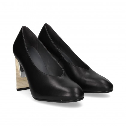 SALON WOODEN HEEL BLACK LEATHER