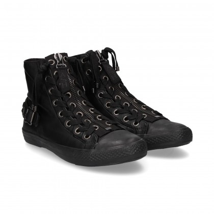 LINED UP BOOT BLACK LEATHER ZIPPERED BOOT