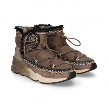 GRAY ELASTIC EMBROIDERED BOOT