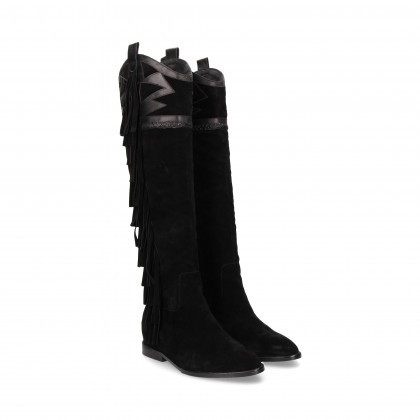 FRINGED SUEDE BOOT BLACK