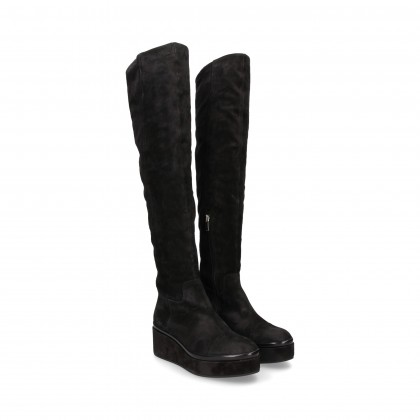 BLACK SUEDE WEDGE BOOT