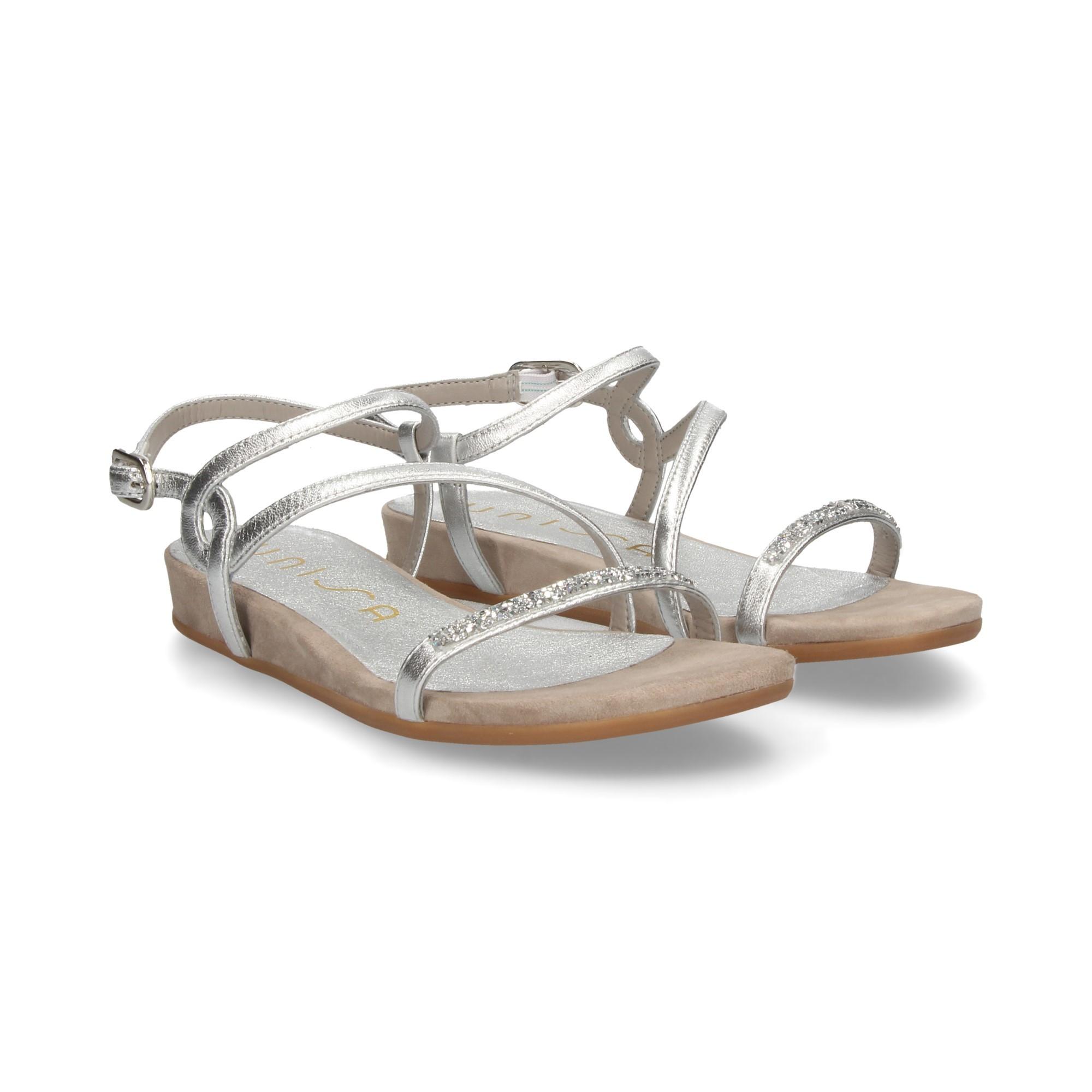 UNISA Flache Sandalen für Damen ANGOLA_LMT SILVER