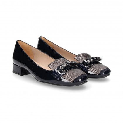 TOPKNOT FRINGES RIBBON STRAS PATENT LEATHER BALTIC