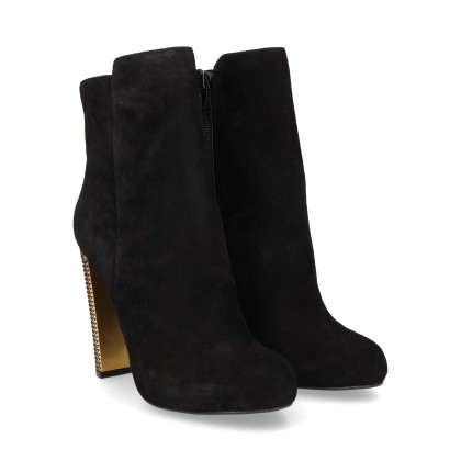 METAL HEEL BOOT GOLD SUEDE BLACK